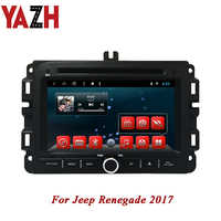 YAZH Android 1 Din Car Dvd Player for Jeep Renegade 2017 PIP Bluetooth Radio Navigation 1080*600 IPS TFT LCD display headunit