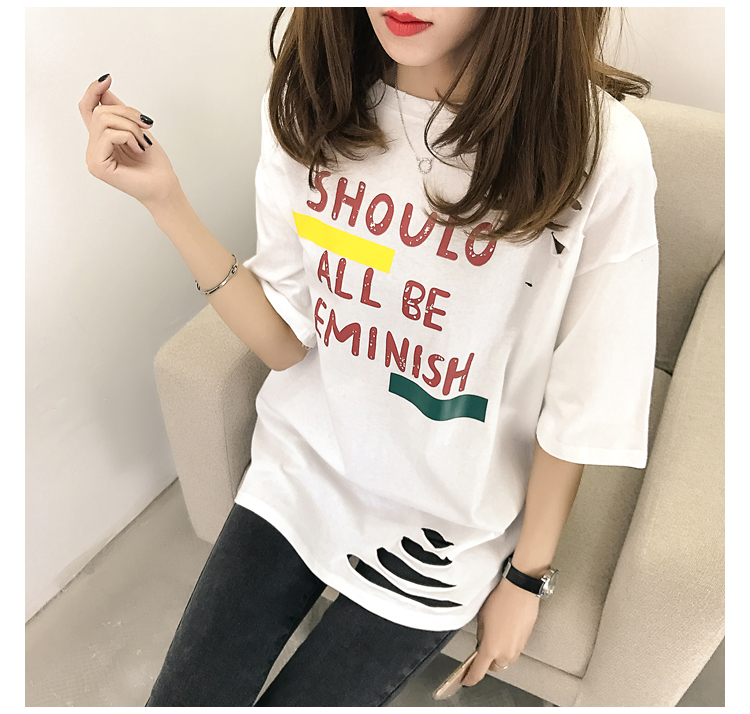 XL- 4XL 2019 new plus size summer loose High Street hole Letter print short sleeve O-Neck women T-shirt top tee TY5 17