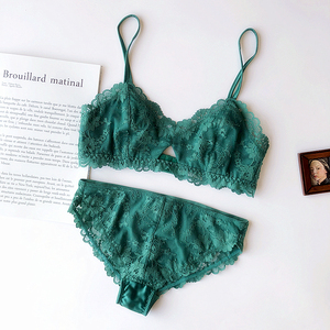 Image 3 - Full lace embroidery ultrathin pad cup women sexy sleepwear underwear hollow out deep v neck comfortable lingerie bra set