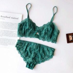Image 3 - Tam dantel nakış ultra ince ped fincan kadınlar seksi pijama iç çamaşırı oymak derin v boyun rahat iç çamaşırı sutyen seti