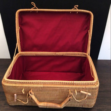 100% håndlavet Vietnam Rattan Rectangle dekorative bagage kasser Bins Bincosmetic make up organizer smykker opbevaringsboks rangement