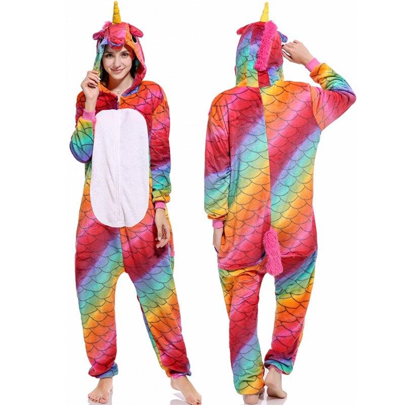 25 NEW Animal Pegasus Unicorn Dragon Pajamas Flannel Hooded Sleepwear Women Pijamas Onsie Unisex Soft Homewear Winter Nightie