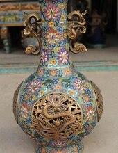 16 «Клеймо Китайский Перегородчатой Эмали Золотой Свинка Dragon Ball Цветочная Ваза Бутылка Горшок