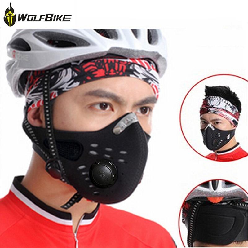 Prix pour Wolfbike Anti Pollution Formation Masque Vélo en Ville Moto Visage Masque Anti-poussière Sport Filtre À Air Bouche Protecteur Intérieurs