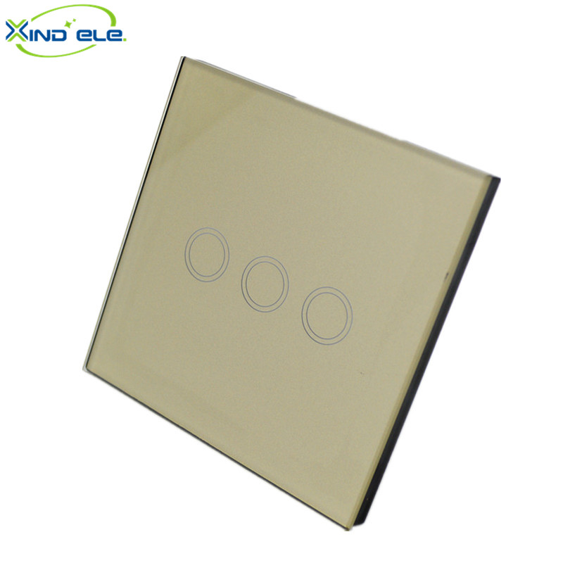 XIND ELE 3 Gang 1 ways touch wall switch europe crystal glass panel wireless light switch for smart home automation #XDTH03G# 2017 smart home crystal glass panel wall switch wireless remote light switch us 1 gang wall light touch switch with controller