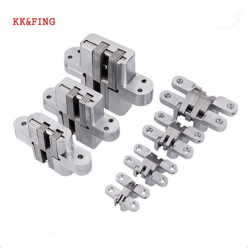 KK&FING 304 Stainless Steel Zinc Alloy Hidden Hinges Invisible Concealed Folding Door Hinge With Screw For Furniture Hardware
