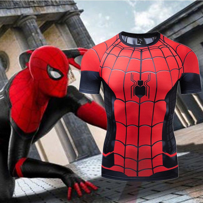 New Marvel T Shirt Spiderman 3d Tight Compressed Shirt Men Short Sleeve Gym Wear Crossfit Training Clothing Summer Rashguard MMA in T Shirts from Men 39 s Clothing