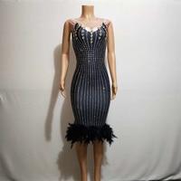 Shiny Nightclub Rhinestone Black Feather Dress For Female Host Evening Party Clothing Birthday Bar DJ Women Stage Costume DJ548