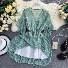 NiceMix Summer Dress 2019 Korean Fairy French Cool Girl Print V-neck Flare Sleeves Chiffon Plus Size Women Casual