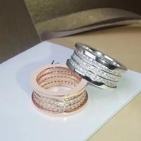 Brand Jewelry Fashion Luxury Wedding Titanium Steel Three Spring Full CZ Ring Couple Engagement Ring Logo