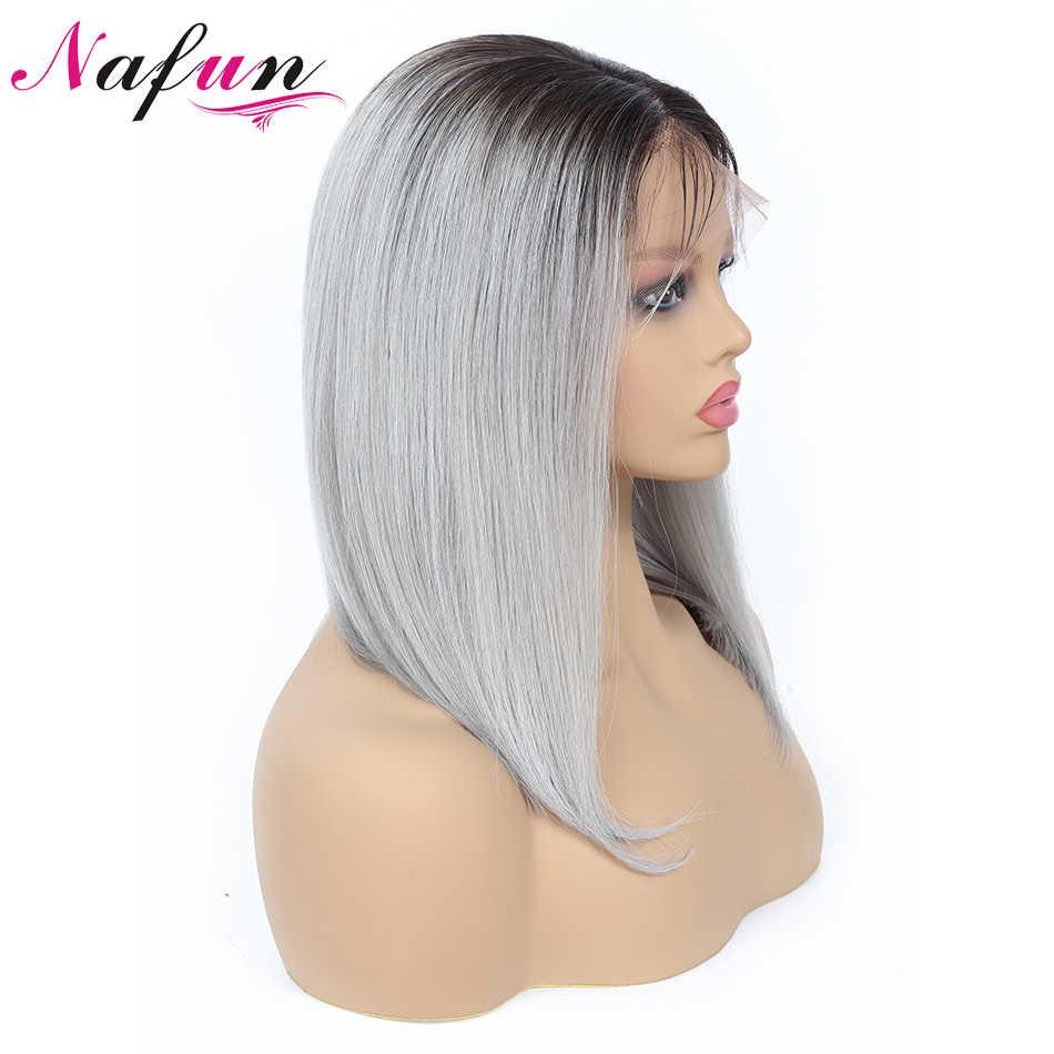 NAFUN короткие Синтетические волосы на кружеве человеческих волос парики T1B-Gray человеческих волос Синтетические волосы на кружеве al парик бразильские волосы парик Боб для черных Для женщин