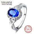 100% de Prata Pura anel de Dedo do Anel de Safira Clássico CZ Diamante Para As Mulheres de Noivado Casamento Moda Jóias Frete Grátis AR156