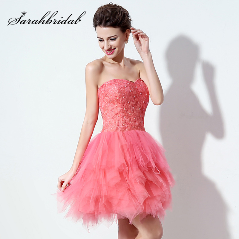 Short Lovely Coral Ball Gown   Cocktail     Dresses   With Lace Beaded Top and Tulle Ruched Skirt Sweetheart Mini Gala Party   Dress   SD304