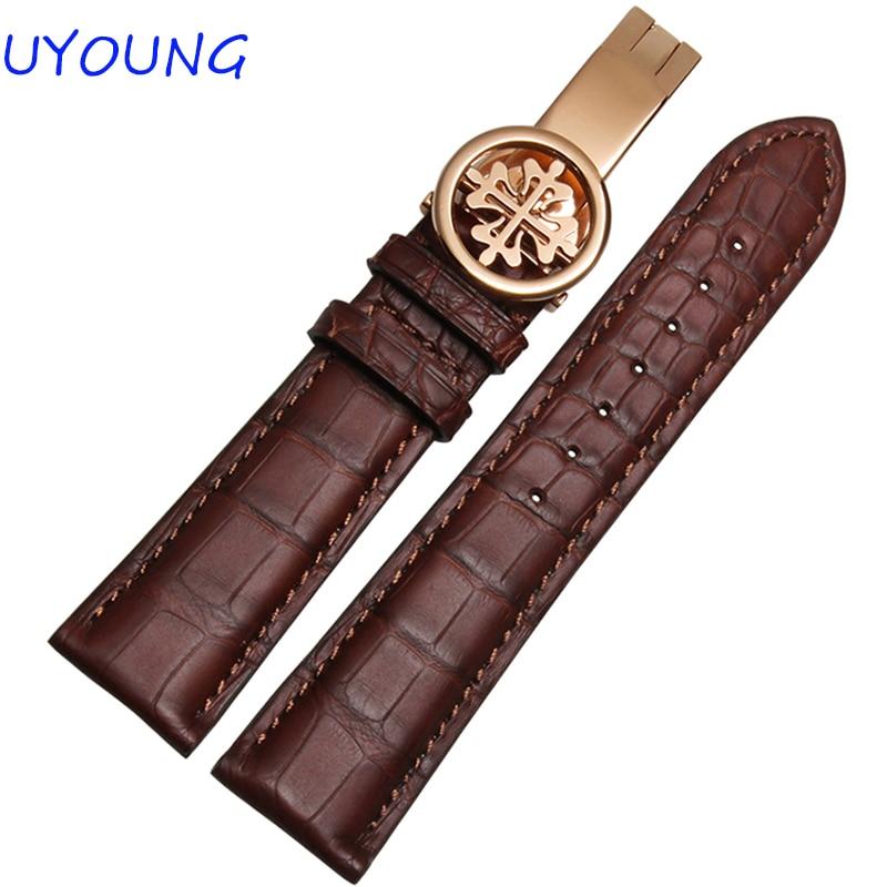 19mm 20mm 21mm 22mm watch band Black Brown Crocodile leather Watchband Mens Women Luxury Watch Strap