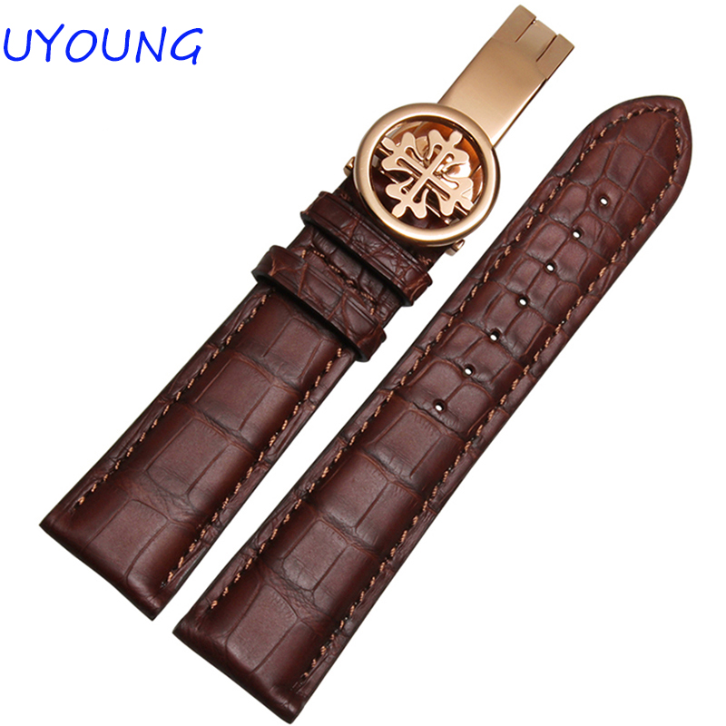 Bracelet de montre 19mm 20mm 21mm 22mm bracelet de montre en cuir Crocodile noir marron bracelet de montre de luxe pour hommes femmes