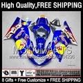 8Gift  For SUZUKI GSXR750 01 02 03 Blue yellow GSXR 600 750 K1 1JK816 GSXR600 R600 Glossy blue GSX R750 2001 2002 2003 Fairing