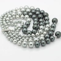 Hot South Sea Oyster Shell Pearl Necklace, Black Grey Color Long Necklace 110cm