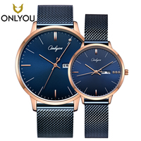 ONLYOU Fashion Lover Watches Dress Diamond Mesh Steel Braclet Elegant Women Quartz Wristwatch Men Week Display Clock Couple