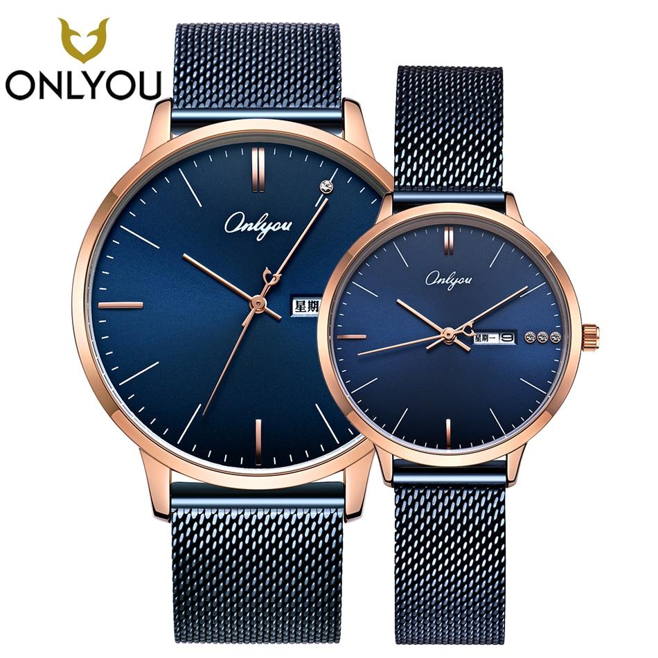 ONLYOU mode amant montres robe diamant maille acier bracelet élégant femmes Quartz montre-bracelet hommes semaine affichage horloge Couple