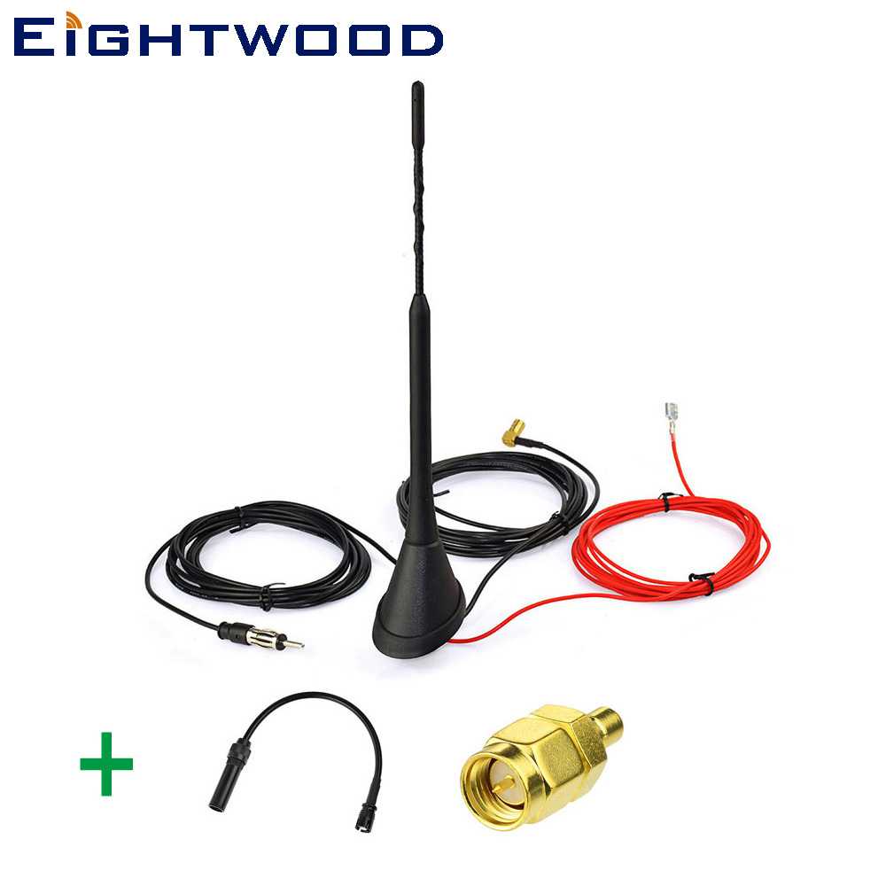 Eightwood Auto Car DAB Radio Aerial Roof Mount Antenna Amplified and Replacement Adapter Cable for Pioneer
