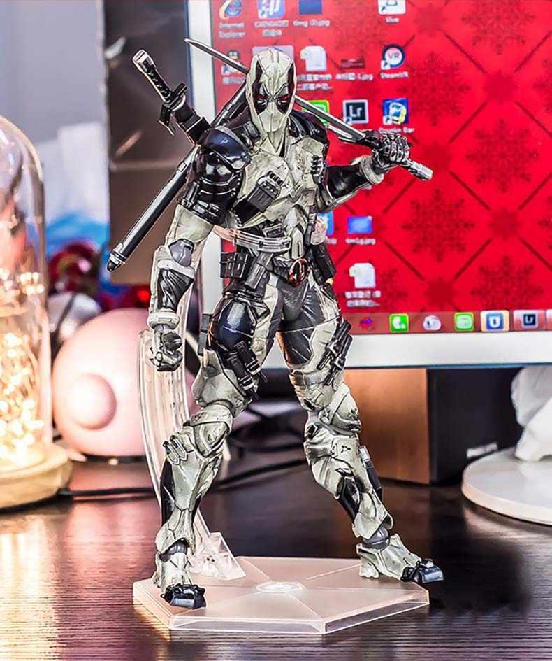 Anime Filme X-Men Cinza Deadpool Figura de Ação Playarts Kai estatueta Coleção Wolverine Modelo Jogar artes 26 cm crianças boneca Brinquedos