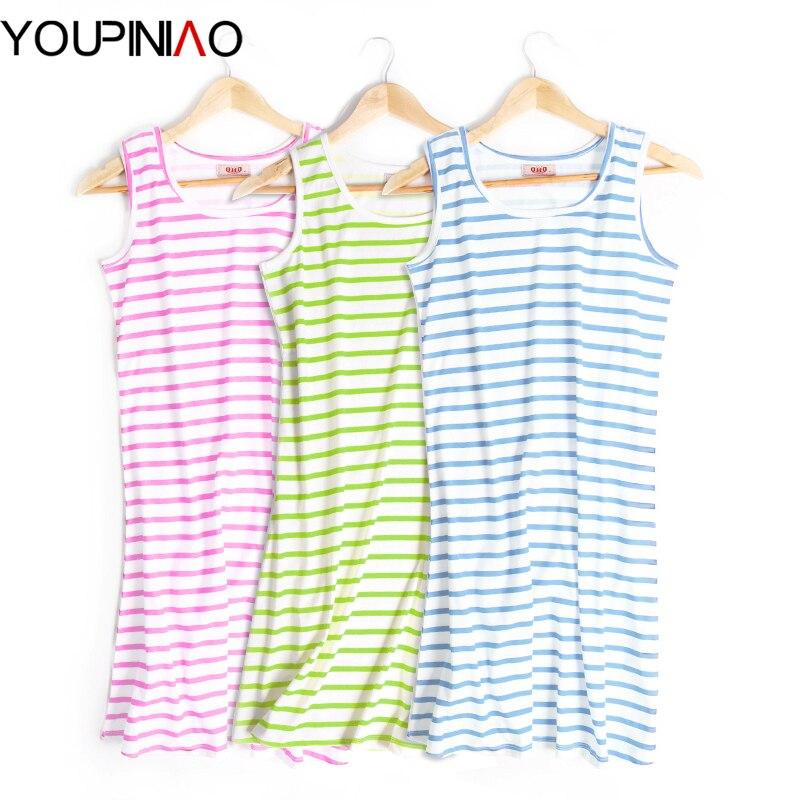Cute Nightgown Summer Women Nightgown Sleeveless Striped
