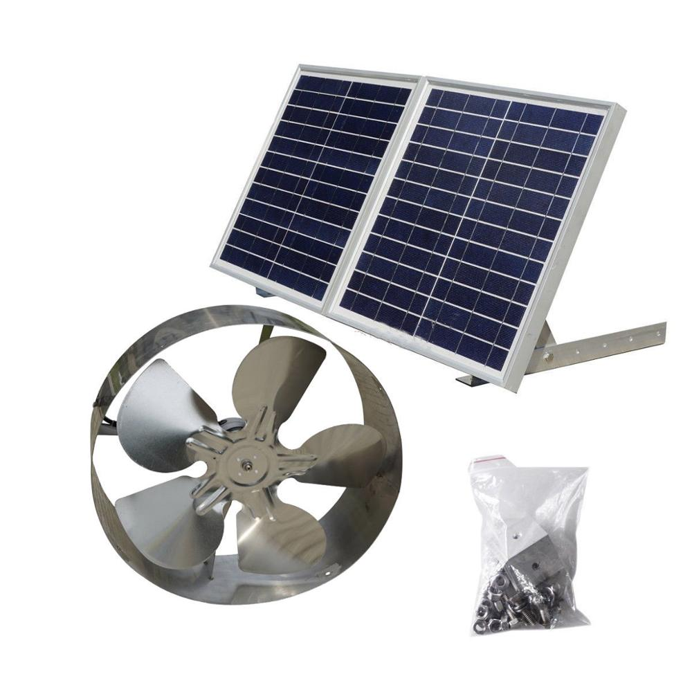 25W Solar Powered Attic Ventilator Gable Roof Vent Fan with 30W Foldable Solar Panel for Home