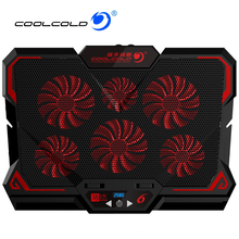 New COOLCOLD Laptop Cooler 2 USB Ports Six Cooling Fan Pad Notebook Stand for 12-17 inch