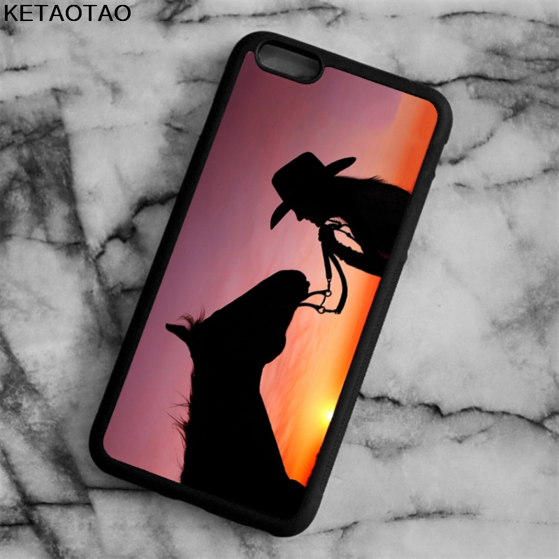 KETAOTAO Cowgirl Horse Sunset Phone Cases for iPhone 4S 5S 6 6S 7 8 X PLUS for Samsung S6 7 8 NOTE Case Soft TPU Rubber Silicone