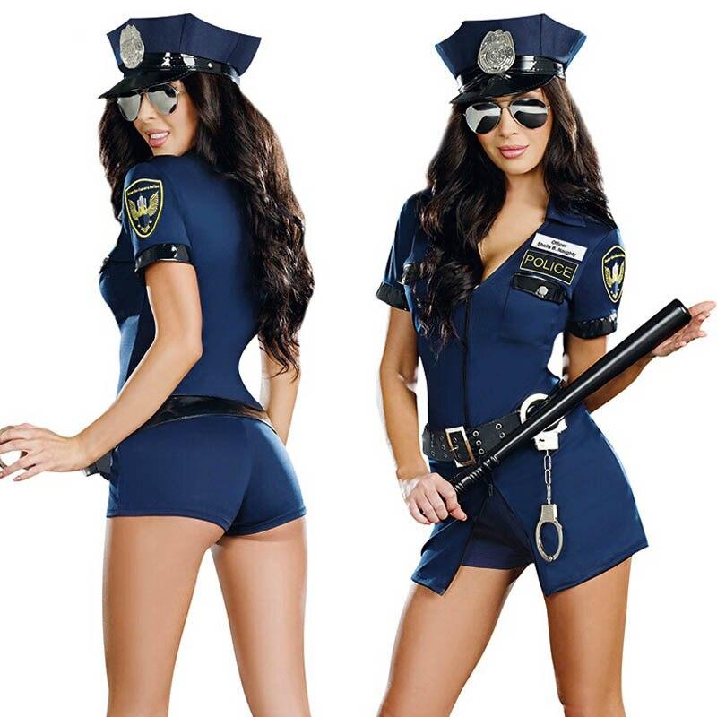Sexy Police Officer Costume Uniform Halloween Adult Sex Cop Cosplay Slim Dress For Women Torex