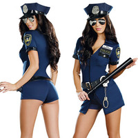 Sexy Police Officer Costume Uniform Halloween Adult Sex Cop Cosplay Slim Dress For Women