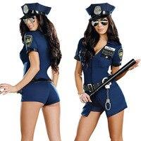 Sexy Police Officer Costume Uniform Halloween Adult Sex Cop Cosplay Slim Dress For Women