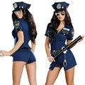 Sexy traje de policía uniforme cop cosplay delgado dress de halloween para adultos del sexo para las mujeres