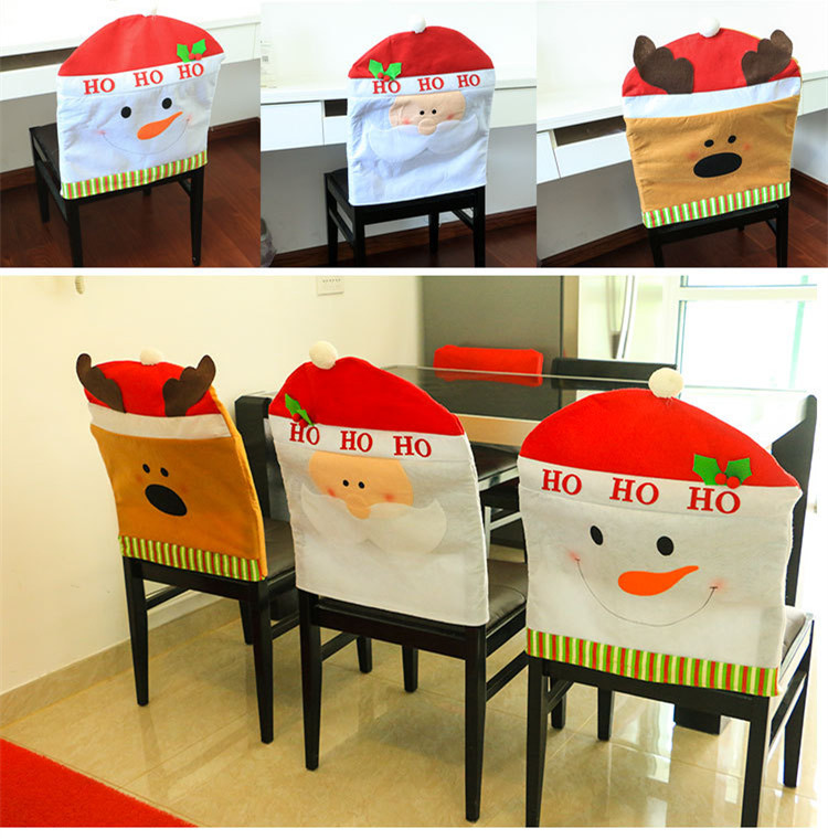 MUZZI Lovely Christmas Chair Covers Mr & Mrs Santa Claus Christmas Decoration Dining Room Chair Cover Home Party Decor