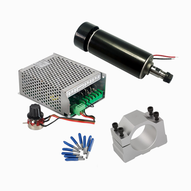 CNC Spindle 500W DC Spindle Motor Air Cooled 110V 220V Mach3 Power Supply 52mm Clamp For Milling MachineCNC Spindle 500W DC Spindle Motor Air Cooled 110V 220V Mach3 Power Supply 52mm Clamp For Milling Machine