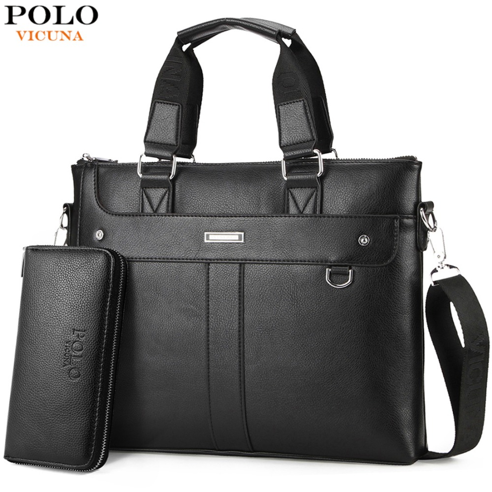9ac9f95ddc5 VICUNA POLO Classic Business Man Briefcase Brand Computer Laptop Shoulder  Bag Leather Men's Handbag Messenger Bags Men Bag Hot-in Briefcases from  Luggage ...