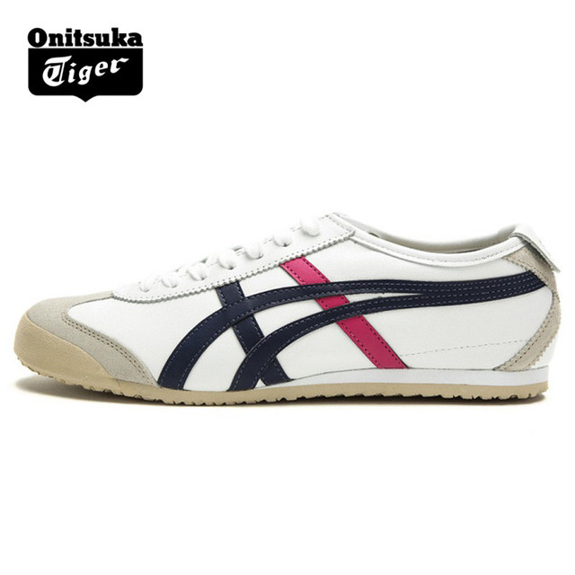 meet ce5d5 46deb US $125.39 |ONITSUKA TIGER MEXICO 66 Women Shoes White lake blue Rubber  sole Hard Wearing Street Low Sneakers Badminton Shoes THL7C2 0156-in  Badminton ...