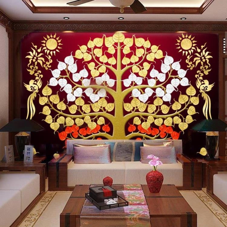 Customized Southeast Asia Thai-style gold foil painting living room entrance porch frescoes Bodhi tree auspicious tree wallpaper tt tf ths 02b hybrid style black ver convoy asia exclusive