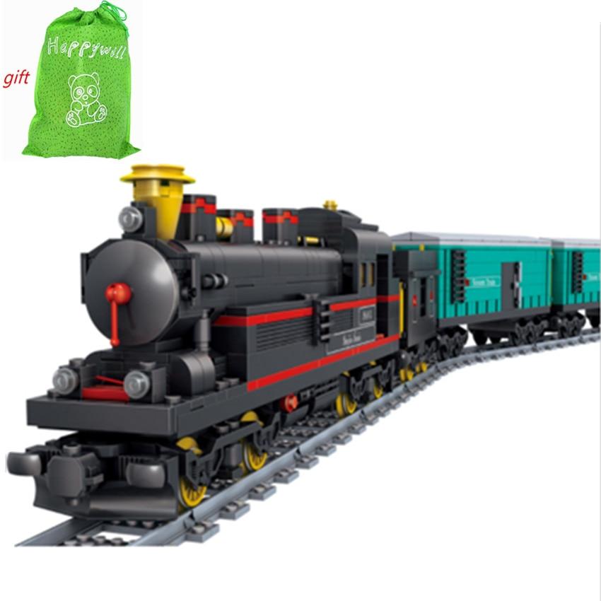 Happywill KY98103 Model building kits compatible city trains rail KTX 3D blocks Educational model building toys hobbie power trains набор с краном 48627