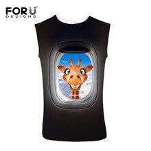 FORUDESIGNS Funny Black 3D Animal Giraffe Pattern Sexy Tank Tops 2017 Mens Clothing Casual Cotton Vests Bodybuilding Undershirt