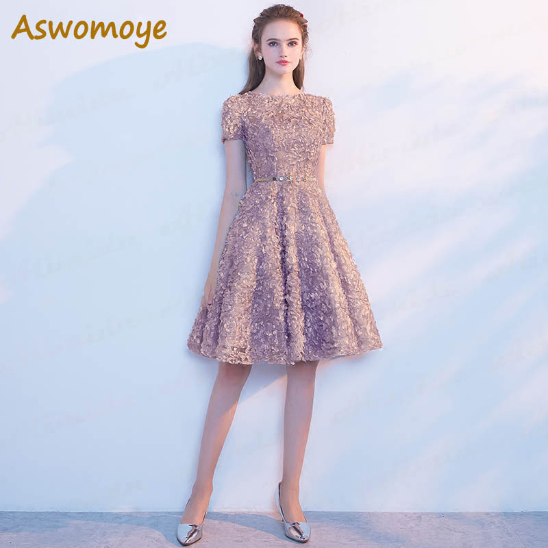 Weddings & Events Lace Evening Dress 2018 New Stylish Floor Length Short Sleeve Formal Dresses Banquet Dresses Sashes Custom Size Robe De Soiree