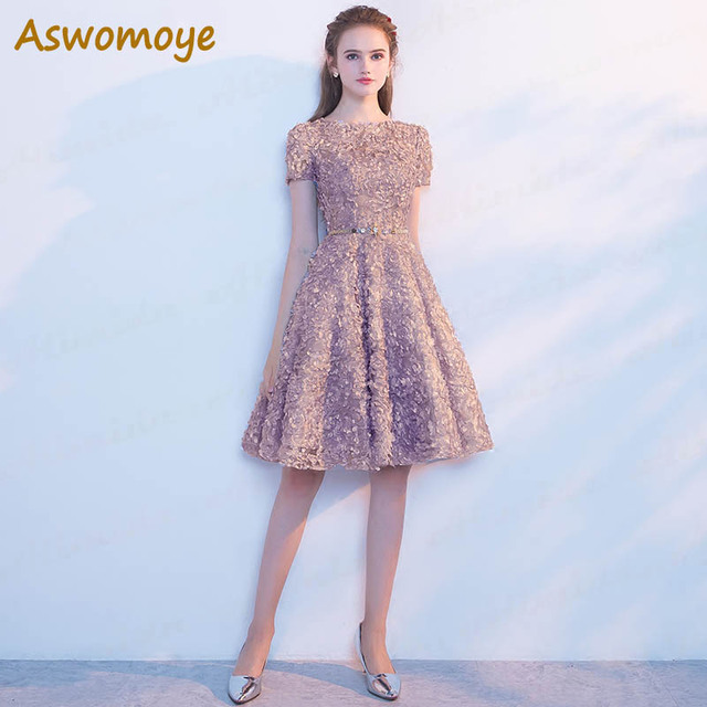 Aswomoye Lace Evening Dress 2018 Elegant Banquet Prom Dresses Short Sleeve  Soft Material Party Dress O-Neck robe de soiree bd918992c1b6