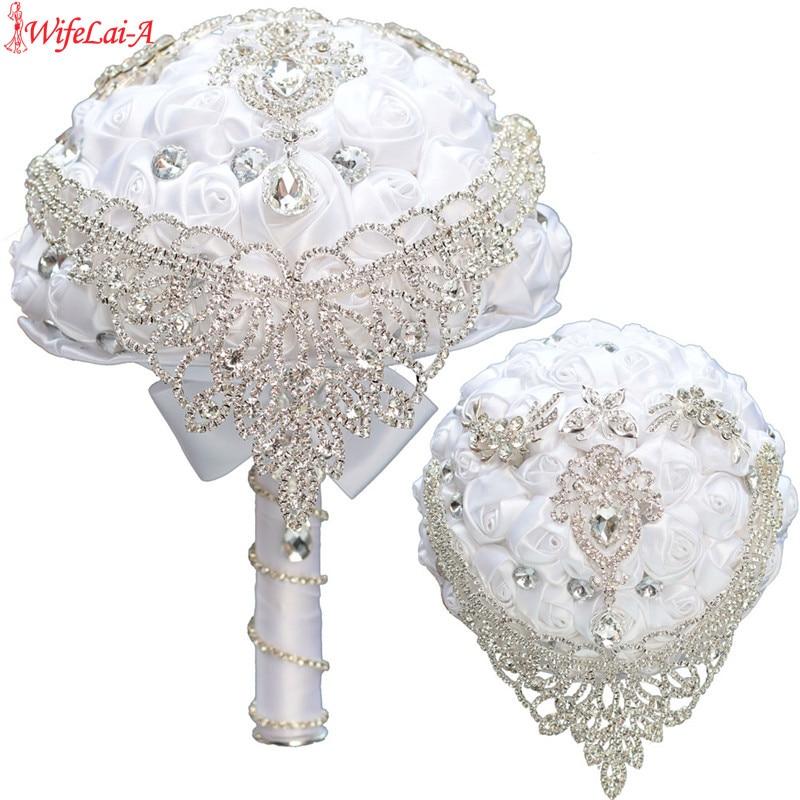 WifeLai-A In Stock Tassel Diamond Brooches White Silk Rose Wedding Flowers Bridal Bouquets PSilver Rhinestone,Accept Custom W287
