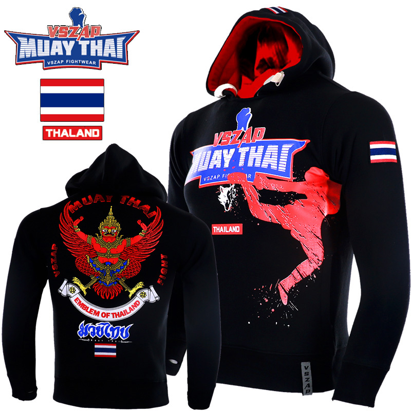 VSZAP MMA Rock Hoodies Warm Winter Jacket Long Sleeve Hooded Sweatshirt Kick Boxing Combat Muay Thai Clothing Fighting Shirts