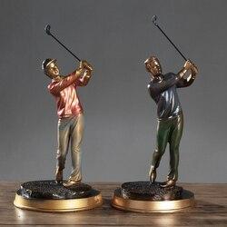Europäische Abstrakte Golf Sport Kunst Skulptur Athlet Figurine Abbildung Statue Harz Kunst & Handwerk Hause Dekoration Zubehör R1397
