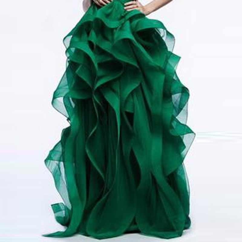 אלגנטיות כדור כותנות ארוכה חצאית כלה מדהימה ראפלס שכבות אורגנזה העבה ליידי חצאיות פורמליות אורך רצפת מסיבת חצאית