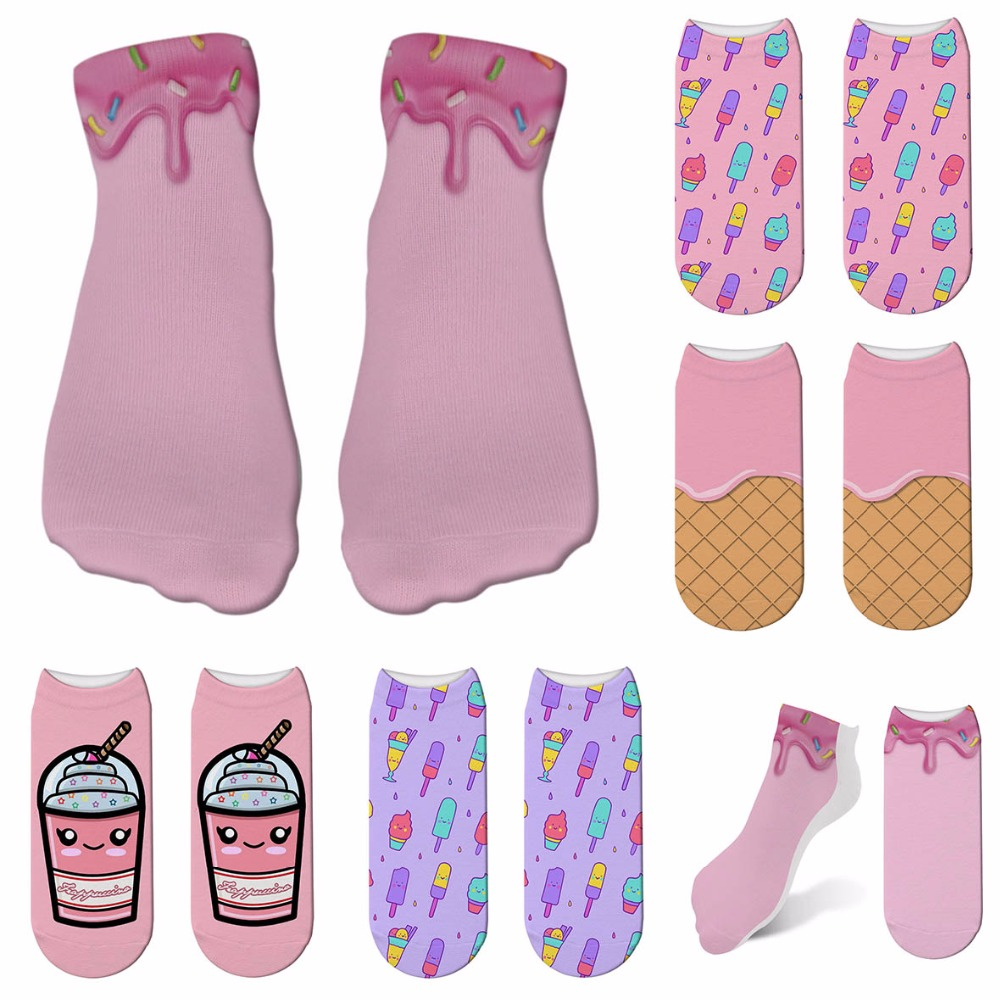 New Ice Cream Print 3D Socks Women Kawaii Ankle Femme Calcetines Mujer Girls Cute Food Funny Socks Happy Calcetines 6ZJQ-ZWS21