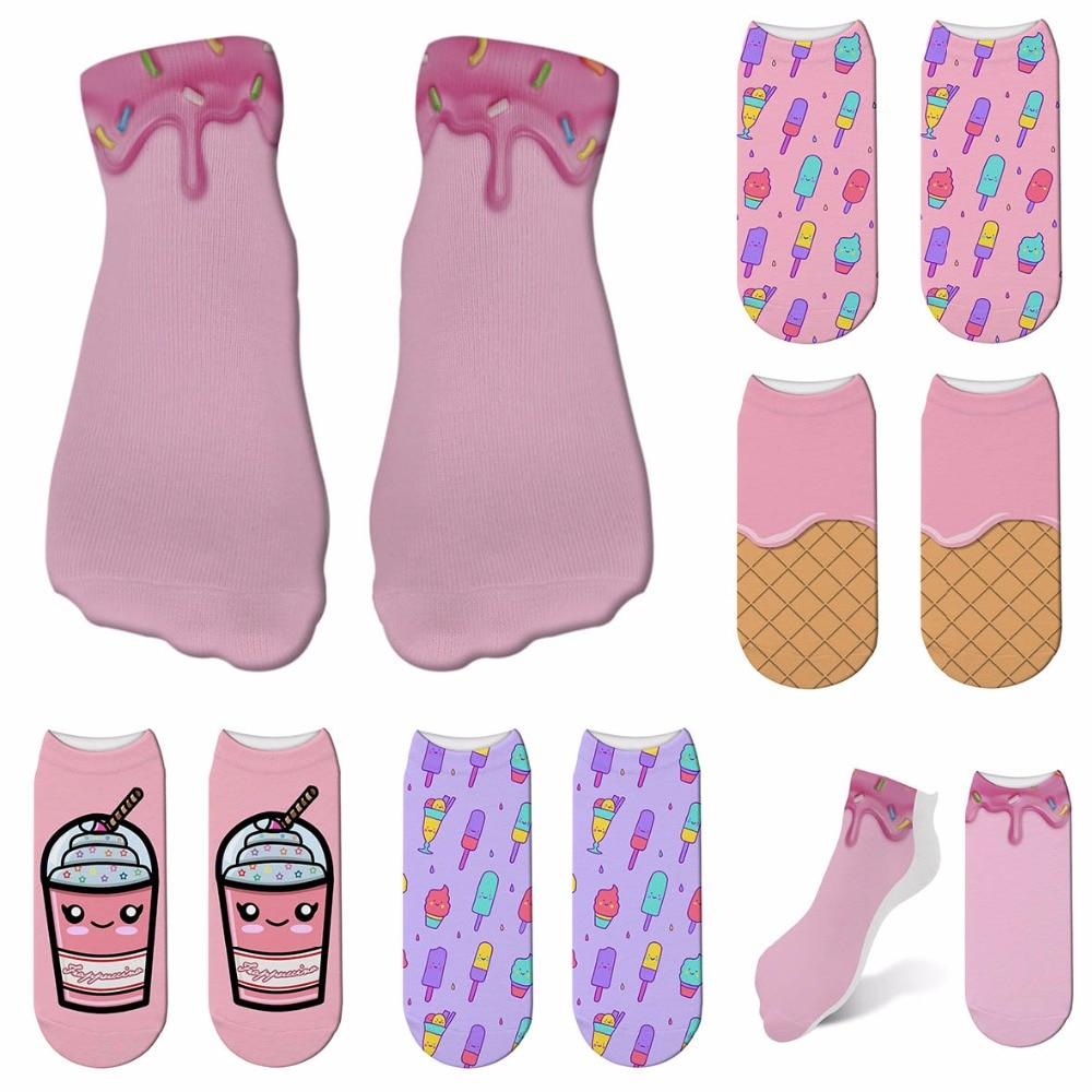 New Ice Cream Print 3D Socks Women Kawaii Ankle Femme Calcetines Mujer Girls Cute Food Funny Socks Happy Calcetines 6ZJQ-ZWS21