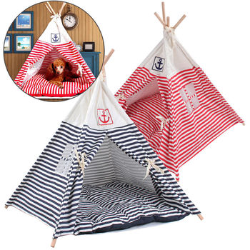 CellDeal Folding Linen Breathable Pet Tent Dog House Bed Washable Puppy Cat Play Teepee Mat Portable with Custion Outdoor Indoor