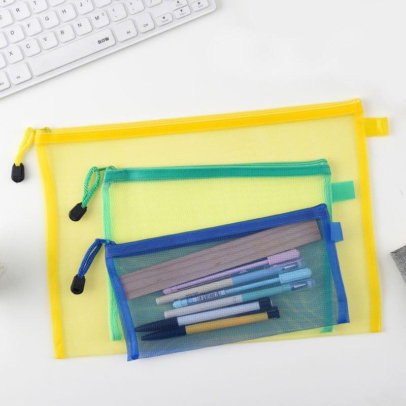 Mesh Pencil Case Lapices Papeleria Etui Pennen Transparent Pencil-Case School Estuche Escolar Kalemlik Kalem Kutusu Pencilcase